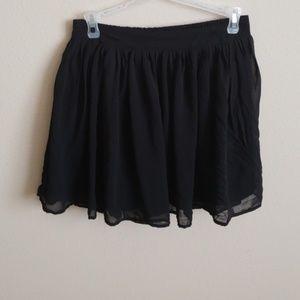 Chiffon black mini skirt